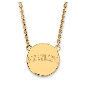 NCAA 14k Gold Plated Silver Maryland Large Polished Disc Necklace