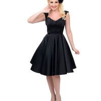 Unique Vintage Black Off The Shoulder Jayne Swing Dress