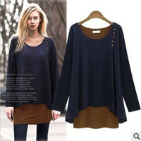 Fashion Autumn Women Extra Plus Size Long Sleeve Solid a13107