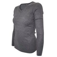 """""""Classic"""" Pull Over V Neck Soft and Cozy Grey Sweater"""
