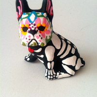 Day of the Dead Boston Terrier Dog Sugar Skull pet memorial Dia De Lois Muertos sculpture Dog skeleton Halloween decor