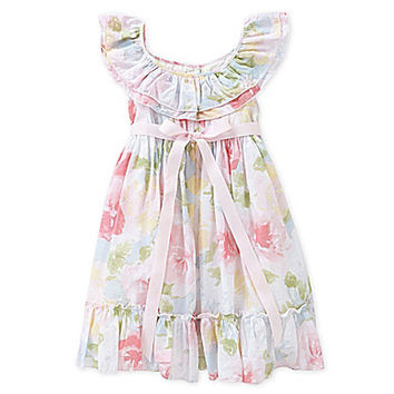 Laura Ashley 2T-10 Floral-Overlay Dress - Multi