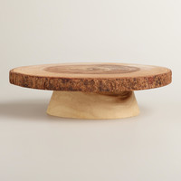 Wood Bark Pedestal Stand - World Market