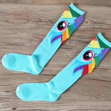 New Anime My Pony Cute Rainbow Dash Little Horse Cosplay Cotton Adult Stockings Fit Four Seasons
