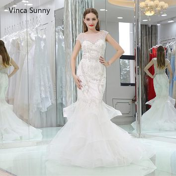 vinca sunny Real Pictures Ball Gown Bridal Dress Vintage Muslim Plus Size Wedding Dress 2018 Princess with lace applique cheap