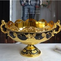 fruit bowl  plate bowl home ktv CANDY BOWL metal fruit gold black bowl Continental carved luxury home decor serving tray SG016