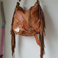Tan milky brown leather bag hobo tribal african bohemian boho festival  purse sweet smoke free people distressed bag moroccan cowhide