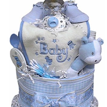 Babygiftidea Decorative Centerpiece Newborn Baby Shower Gift 2 Tiered Boy's Diaper Cake