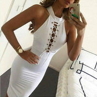 hollow out solid bodycon dress