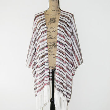 Long Knit Kimono Cardigan with Fringe/ 70's Inspired Cardigan/  Striped Knit Poncho Wrap/ Oversized Kimono Jacket/ Boho Clothing