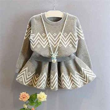 Children outwear Autumn winter Girls clothes set Toddler kids baby Outfits gray sweater+tutu skirt 2pcs set