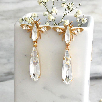 Crystal Long Earrings, Bridal Drop Crystal Earrings, Insect Gold Earrings, Swarovski Crystal Dangle Earrings, Butterfly Chandelier Earrings