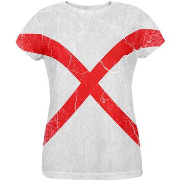 Alabama Vintage Distressed State Flag All Over Womens T Shirt
