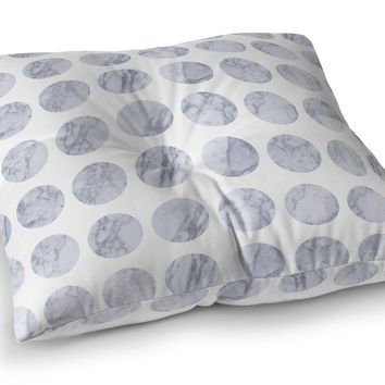 FAT DOT WHITE MARBLE Floor Pillow By Jackii Greener