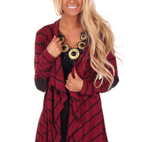 Burgundy Cardigan with Black Suede Patch