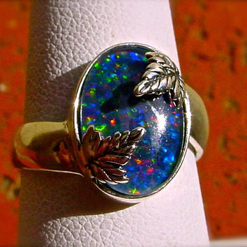 SALE: Genuine Black Opal ring. Unisex Black Opal ring. Leaf setting. Set in Handmade Sterling Silver. Pick your gemstone. Birthstone. 14x10