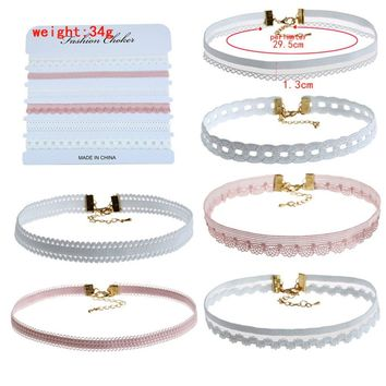 AINAMEISI 6pcs/Set Charm Choker Necklace Set For Women Collar Velvet Choker Lace Necklace Sexy Harajuku Ribbons Fashion Jewelry