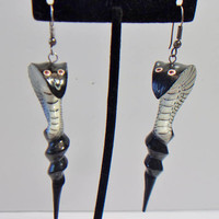 Vintage King Cobra Earrings Snake Jewelry Unique Fashion Accessories For Her