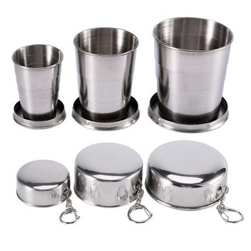75/140/240ML Stainless Steel Travel Folding Cup Outdoor Sports Keychain Retractable for Camping Hiking Coffee Cups And Mugs