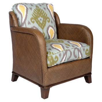 New Canaan Ikat Lounge Chair, Light Blue, Club Chairs