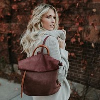 Globetrotter Faux Leather Backpack - Burgundy