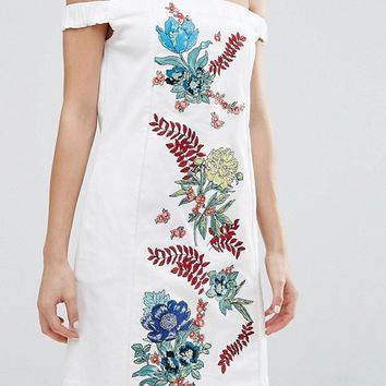 House of Holland Embroidered Cotton Drill Dress at asos.com