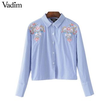 sweet floral embroidery striped crop tops long sleeve turn down collar shirts blue casual short tops blouse