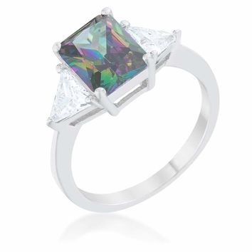 Classic Mystic Topaz Colored 3 Stone Sterling Silver Engagement Ring JGI