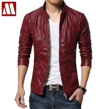 Trendy 2018 brand-clothing Autumn slim fit Men's leather jacket and coat faux PU leather biker jackets male fur coats motorcycle jacket AT_94_13