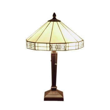 Tiffany-style Mission Yellow White Table Lamp