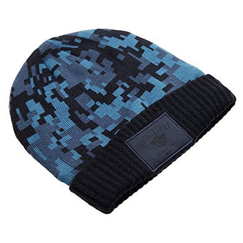 MNBS Men's Wool Knitted Thinsulate Winter Hat with Patterns Fashion Navy