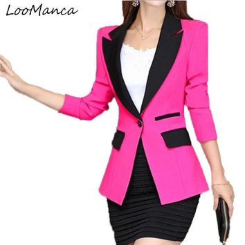 VONG2W Fashion Women Blazers and Jackets Spring and Autumn Long Sleeve Suit for Women Blaser Mujer Casual Notched Office Feminino Coat