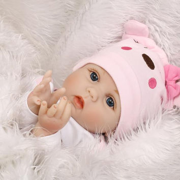 55cm Soft Body Silicone Reborn Baby Doll Toy For Girls NewBorn Girl Baby Birthday Gift To Child Bedtime bebe toy bonecas reborn