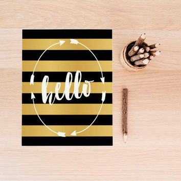 Hello Poster Gold Foil Print Art Hello Print Hello Paper Hello Sign Hello Wall Art Instant Download Hello Printable Wall Decor Digital Print