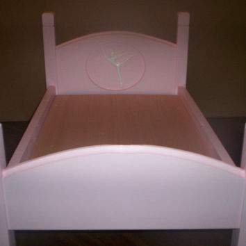 Handcrafted American Girl doll size bed pink ballerina doll furniture