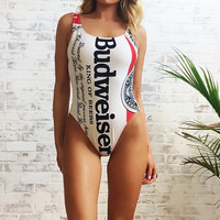 Vintage 1980's High Cut BUDWEISER Swimsuit || One Piece Bodysuit || Beer Swimwear || Plunging Scooped Back || Size Medium