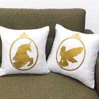 Midsummer Nights Dream Gold Unicorn And Fairy Cameo White Decorative Pillow Covers Set. Fairy Tale Cushion Cover. Girls Room Decor Pillow
