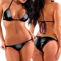 Two Piece Wet Black Metallic Triangle Top & Side Tie Scrunch Bottom Set (Many Colors Available)