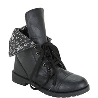 Black Music Note Lined Combat Boot