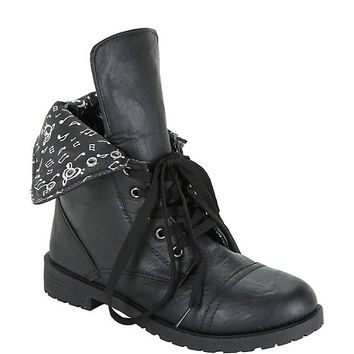 Black Music Note Lined Combat Boots