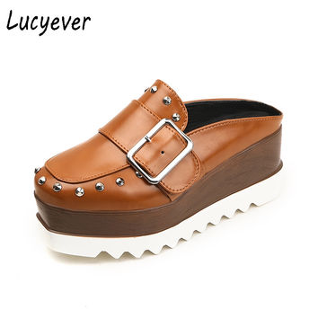 Lucyever Women Leather Shoes High Platform Wedges Brown Slingbacks Pumps Fashion Thick Bottom Rivets Buckle Casual Shoes Woman
