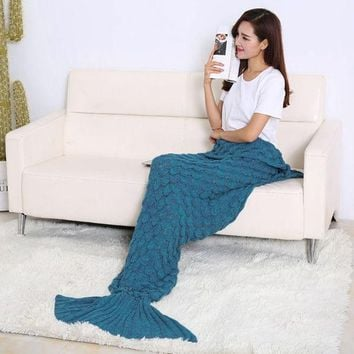 CREYU3C 190 x 90cm Soft Comfort Handmade Knitted Mermaid Tail Blanket Cute Warm Sofa Air Conditioner Cotton Blankets For Children Adults