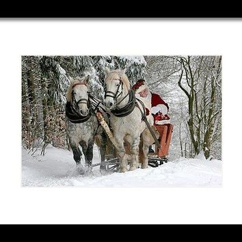 Santa Sleigh With Horses - Framed Print