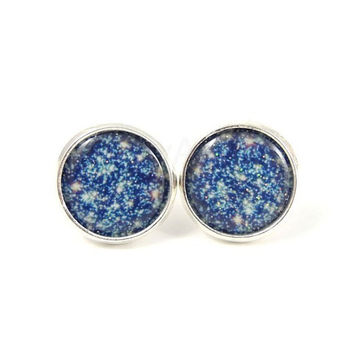 Galaxy Earrings - Silver Starry Night Earrings - Blue Glitter Jewelry - Free Worldwide Shipping