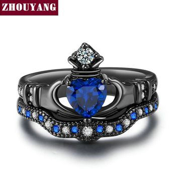 Holding the Created Blue Crystal love Heart Cubic Zirconia Crown Wedding Ring Sets Black Gold Color Fashion Jewelry DD015