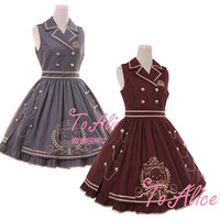 Royal School Series Women's Preppy Style Sleeveless JSK Lolita Dress Striped Button Chains Big Hem One Piece Cute