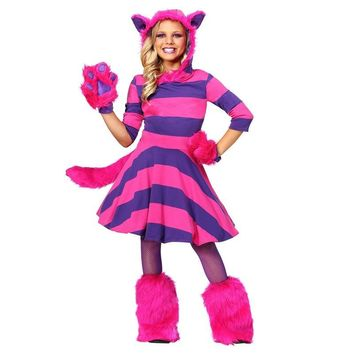 Girls Movie Alice In Wonderland Charater Infamous Pink And Purple Striped Disappearing Feline Cheshire Cat Halloween Costume