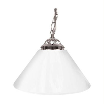 Plain White 14 Inch Single Shade Bar Lamp - Silver hardware