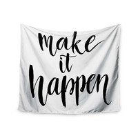 """Make It Happen"" Quote Art Trendy Boho Wall Tapestry"