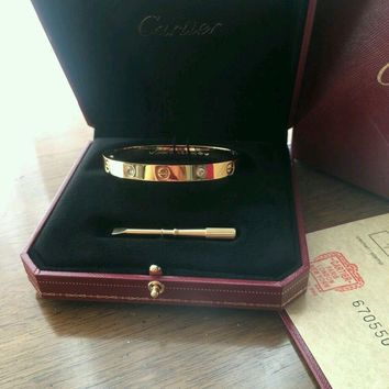 One-nice? Cartier 18K Yellow Gold LOVE Bangle Bracelet Size 19 Authentic